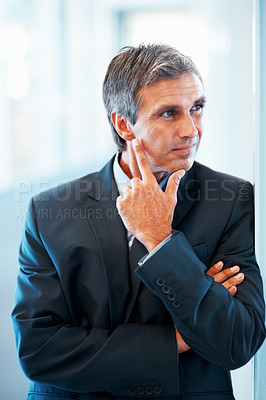 Buy stock photo Portrait of an elderly business man looking tensed