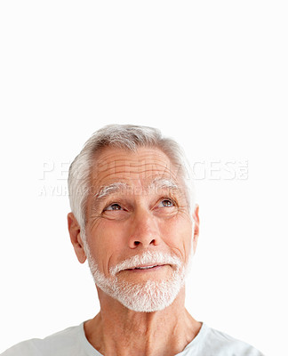 Buy stock photo Portrait of a senior man looking upwards isolated over a white background