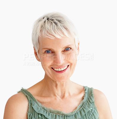 Buy stock photo An old beautiful woman smiling confidently over white background