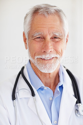 Buy stock photo Closeup portrait of a senior old mature male doctor isolated over grey background