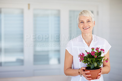 Buy stock photo Happy mature woman holding a flowering potted plant in front in of her holiday home - copyspace