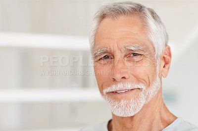 Buy stock photo Closeup portrait of a happy senior man