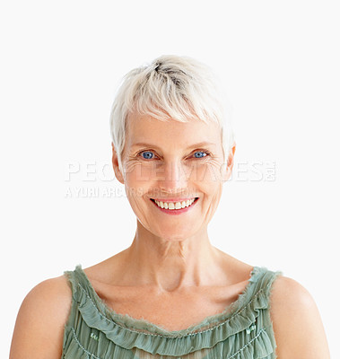 Buy stock photo Portrait of an old senior lady with a smile on her face isolated over white background