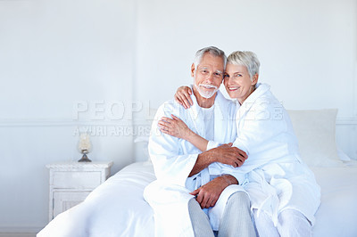 Buy stock photo Portrait of a senior old couple having fun together in the bedroom