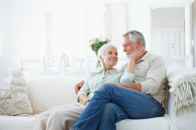 Buy stock photo An old elderly retired couple sitting peacefully
