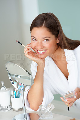 Buy stock photo Happy cute female grooming herself after a bath