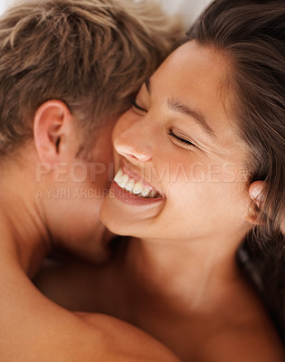 Buy stock photo Closeup of a happy young couple enjoying the act of foreplay