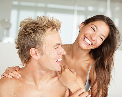 Buy stock photo Cute couple enjoying together on waking up in the morning