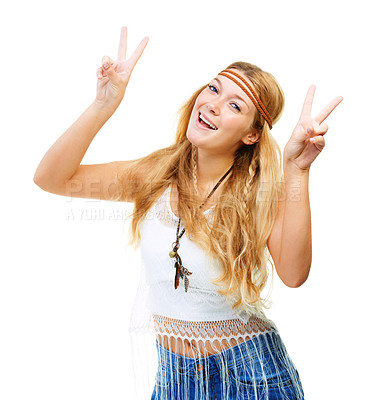 Buy stock photo Studio shot of an attractive flower child showing the peace sign isolated on white