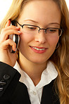 Young businesswoman talking making a call