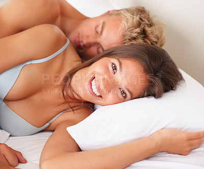 Buy stock photo Affectionate and cute sleeping together in bed