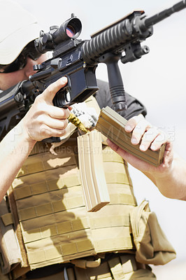 Buy stock photo Cropped shot of an army sniper taking aim