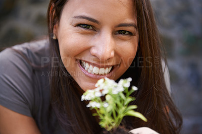 Buy stock photo Close up shot of a young woman holding up an Assylum plant