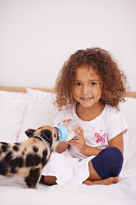 Buy stock photo An adorable young girl feeding her piglet