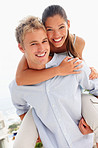 Lovely couple smiling over a white background - piggyback