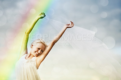 Buy stock photo Shot of a beautiful and carefree young woman outdoors