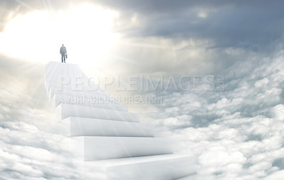 Buy stock photo Shot of a man on a stairway leading up to heaven