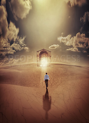 Buy stock photo Shot of a man walking towards a door to another plane of existence in a desert setting