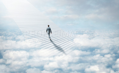 Buy stock photo Shot of a stairway leading up to heaven