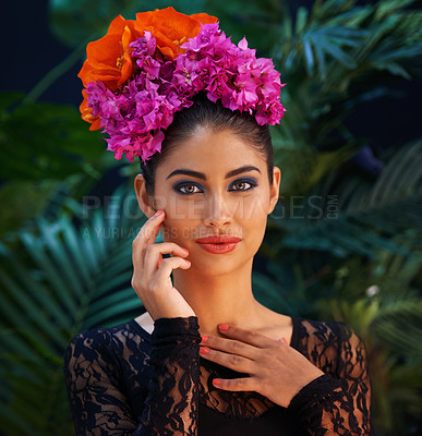 Buy stock photo Portrait of an exotic beauty in tropical surroundings
