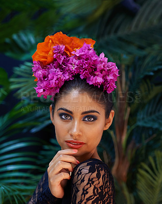 Buy stock photo A portrait of a beautiful woman wearing a colorful headdress