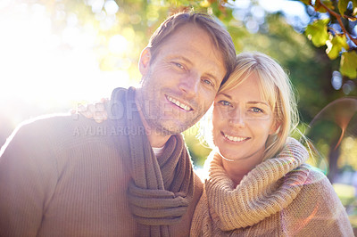 Buy stock photo Portrait of an attractive young couple at the park