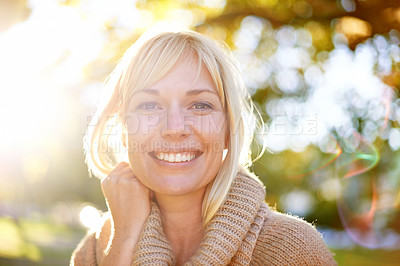 Buy stock photo A portrait of a beautiful woman in the park