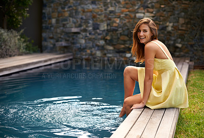 Buy stock photo Beautiful woman in a yellow dress at the pool