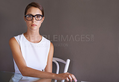 Buy stock photo Gorgeous woman in a white dress wearing glasses