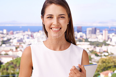 Buy stock photo Portrait of pretty woman standing on the balcony and smiling