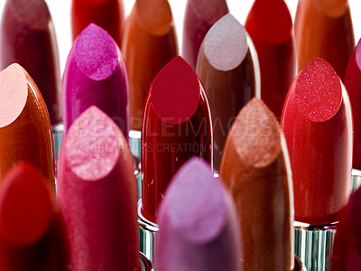 Buy stock photo Closeup of a variety of lipstick colours