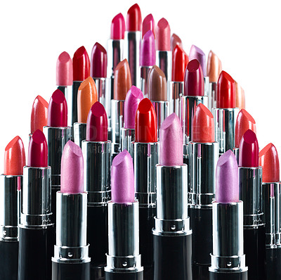 Buy stock photo An isolated shot of different coloured lipsticks