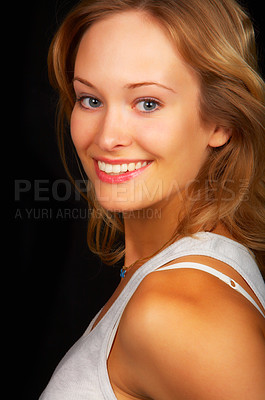 Buy stock photo Young beautiful woman in studio