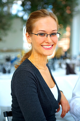 Buy stock photo Portrait of smiling young businesswoman