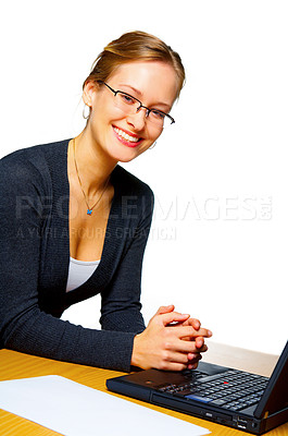 Buy stock photo Satisfied smiling businesswoman