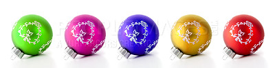 Buy stock photo Colourful christmas decorations in a row, isolated on white - copyspace