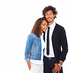 Happy young couple standing together on a white background
