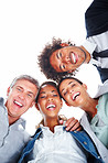 Upward view of happy business people standing together on a white background