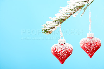 Buy stock photo Heart shaped christmas decorations hanging from a branch against a pale blue background - copyspace