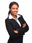 Successful young business woman with hands folded