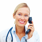 Smiling Doctor using telephone with copyspace