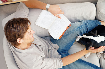 Buy stock photo Young man relaxing in couch