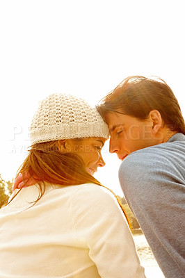 Buy stock photo Romantic -  Close couple outside in the daylight