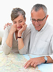 Ambitious older couple planing their travel