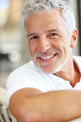 Buy stock photo Portrait of casual mature man smiling