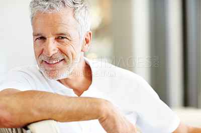 Buy stock photo Handsome senior man sitting comfortably - Copyspac