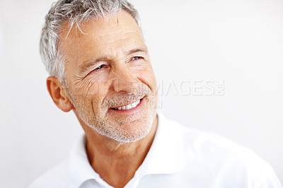 Buy stock photo Happy senior man looking at copyspace