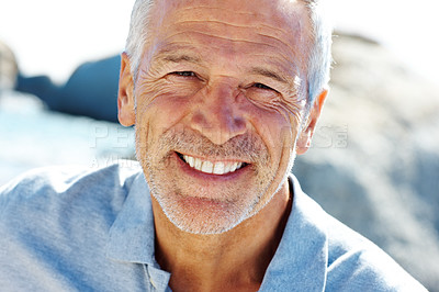 Buy stock photo Handsome senior man smiling - Outdoor