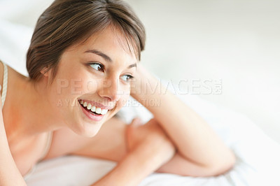 Buy stock photo Cute young female looking at copyspace