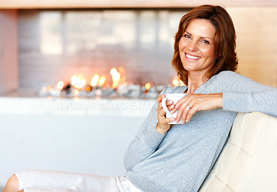 Buy stock photo Happy young woman enjoying coffee - Indoor